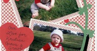 Scrapbok page layout ideas using our Heart-Check and Tiny Hearts Mini Print pape...