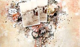 Scraps Of Elegance Scrapbook Kits - This amazing vintage mixed media beach layou...