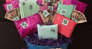 18. Geburtstagsgeschenkkorb. Auf der Rückseite jedes nummerierten Geschenks fin