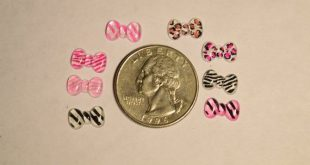 40/70 pc Tiny Crystal Animal Print Bowtie Flat Back Cabochon for Nail Art, Scrapbooking, DIY Project