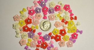 70 pc Tiny Rhinestone Flowers/Bows Mix Flat Back Cabochons for Nail Art, Scrapbooking, DIY Projects,