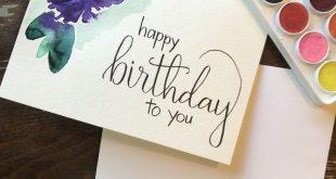 Alles Gute zum Geburtstagskarte mit Aquarell Blume-handgemachte Karte-Geburtstag...
