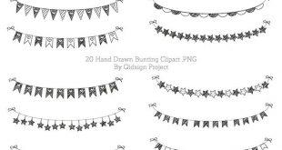 Handgezeichneten Bunting Clipart Doodle Ammer Scrapbooking kommerzielle Nutzung von Hand gezeichnet Girlande Einladung handgefertigten Poster Design
