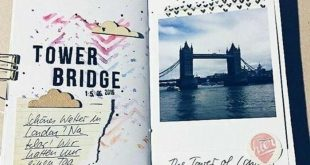 Scrapbook ideas for beginners, a photo of tower bridge, clouds shapes, paper cli...