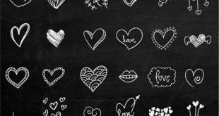 Tafel Herz Clip Art handgezeichnete Clip Art Digital Herzen Clipart Kreidezeichnung Hochzeit Einladung Tafel Valentinstag