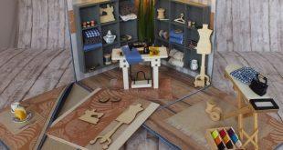 """Viele liebe Details in dieser Explosionsbox """"Nähatelier"""" mit Miniaturen als Ges..."""